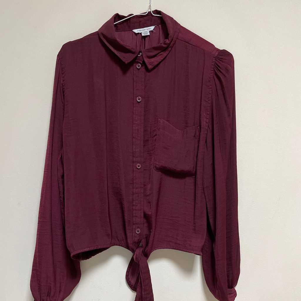 American Eagle Maroon Silk Shirt