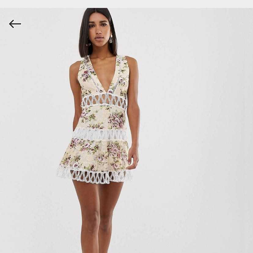 Floral mini dress with lace inserts