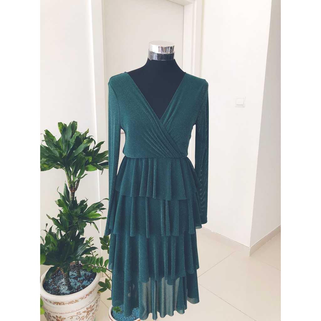 Shein Dark Green Glittering Dress