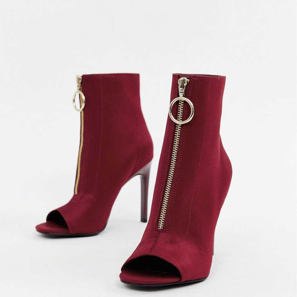 Peep toe sock boots