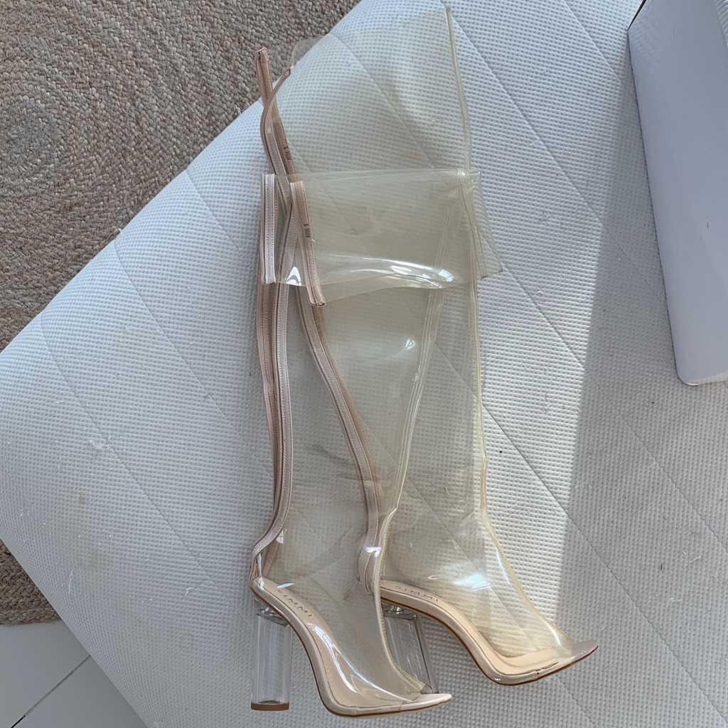 Clear boots peep toe