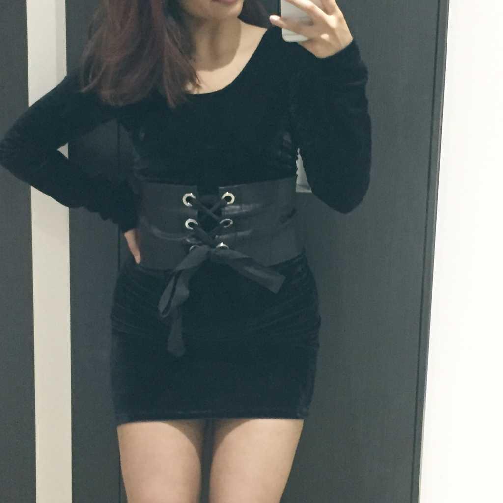 Velour mini dress (without belt)