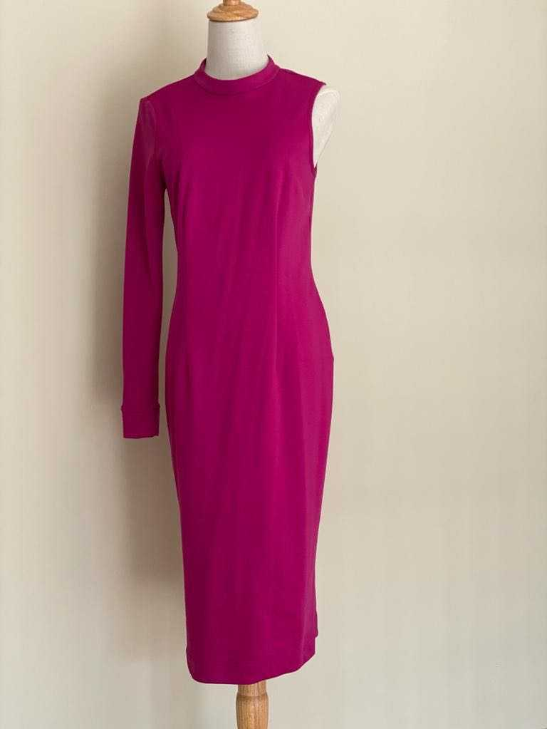 High neck midi with one sleeve