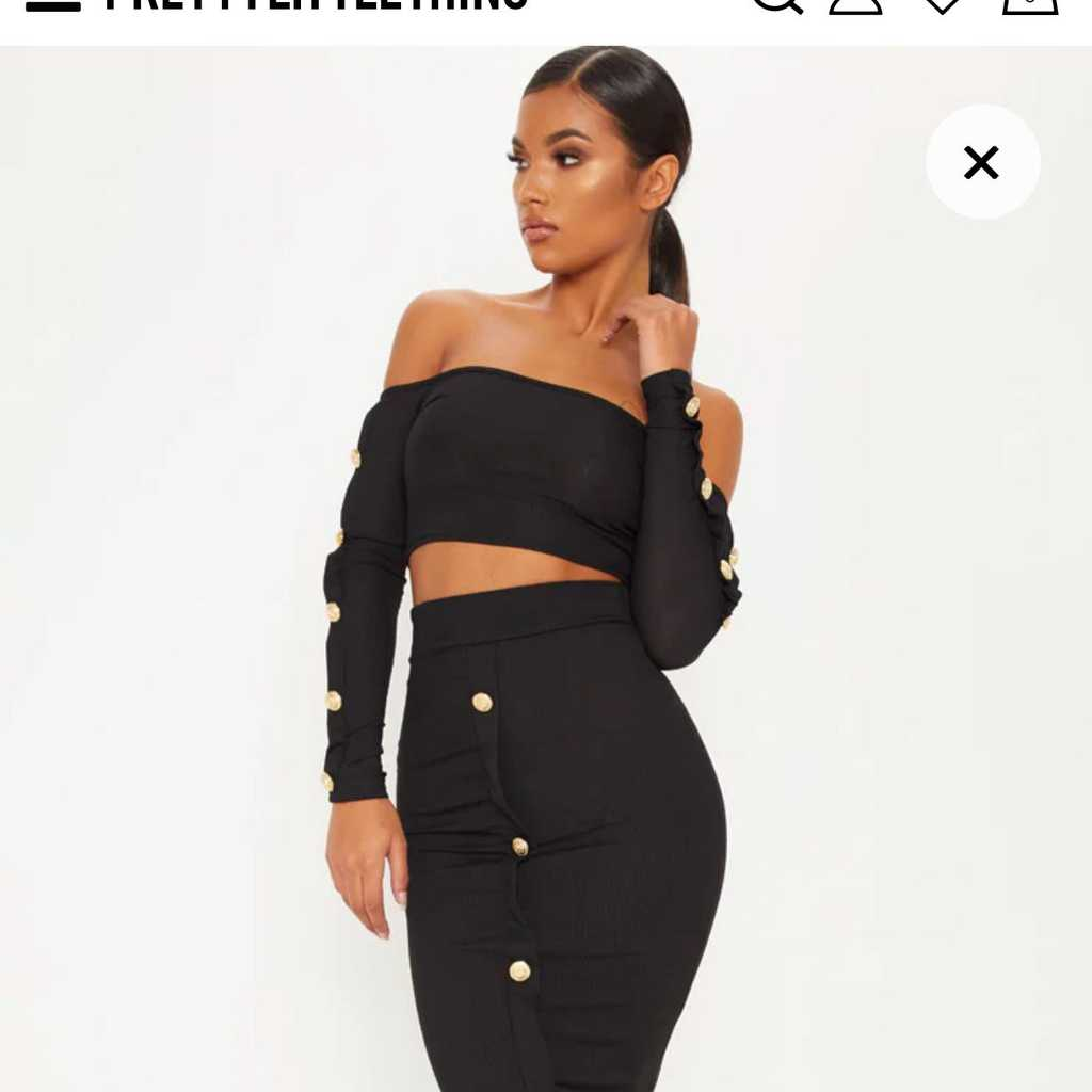Two piece black skirt and crop top