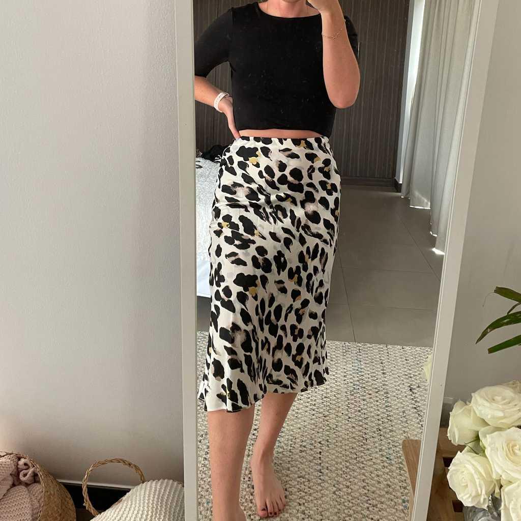 Leopard print slip skirt