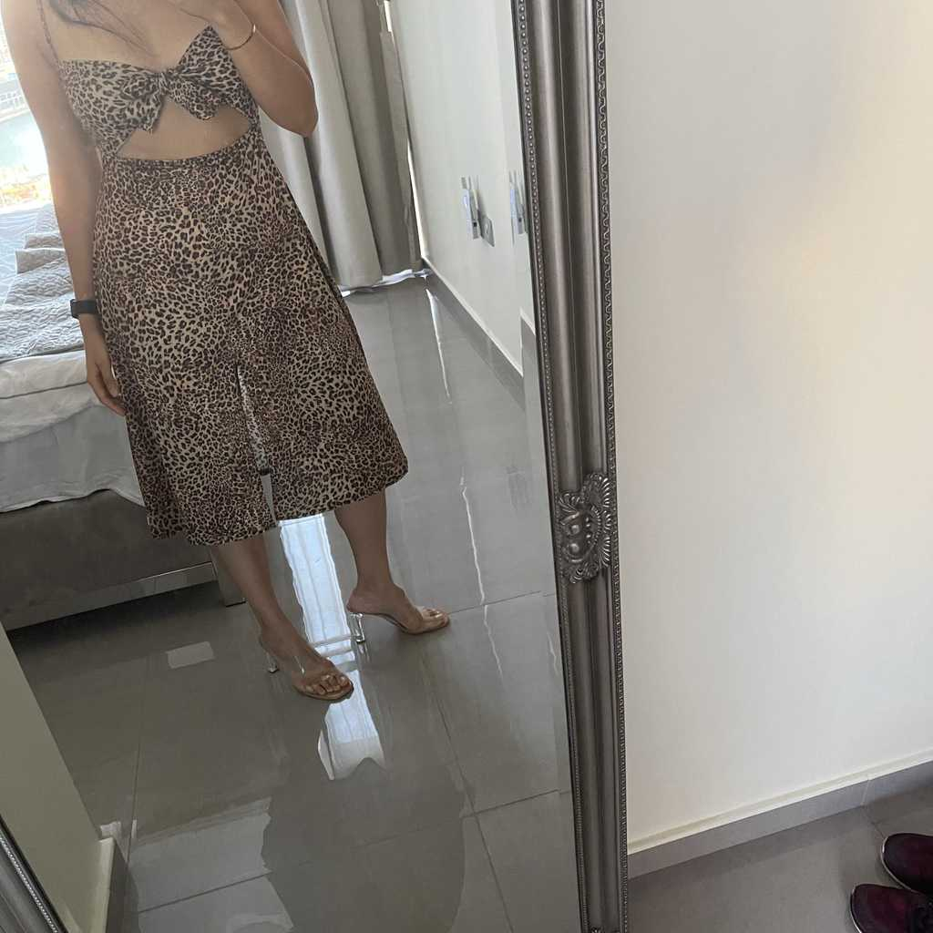 Leopard print front tie dress