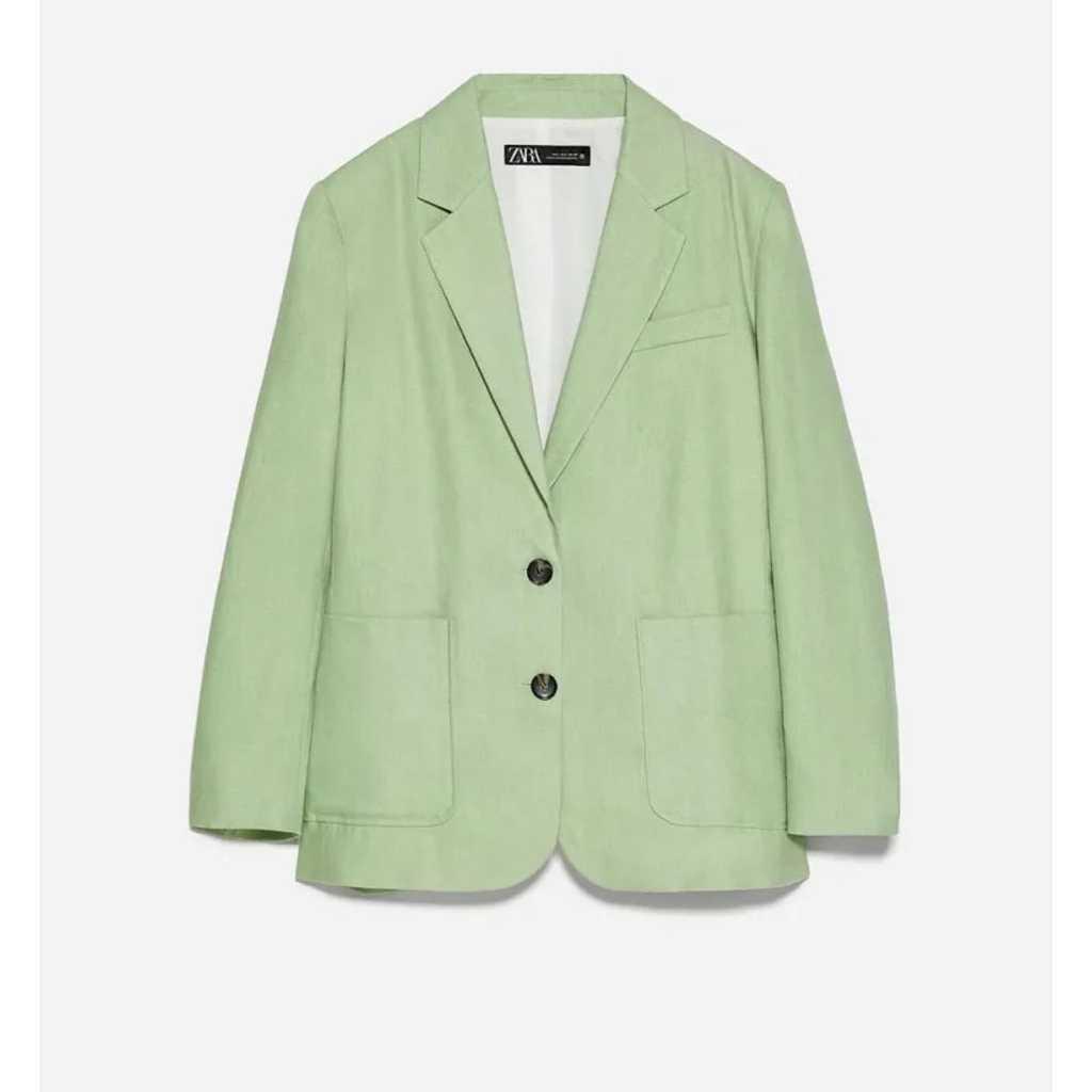 Zara oversized linen blazer with Bermudas