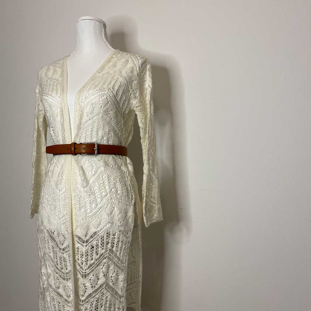 Boho midi length cream cardigan