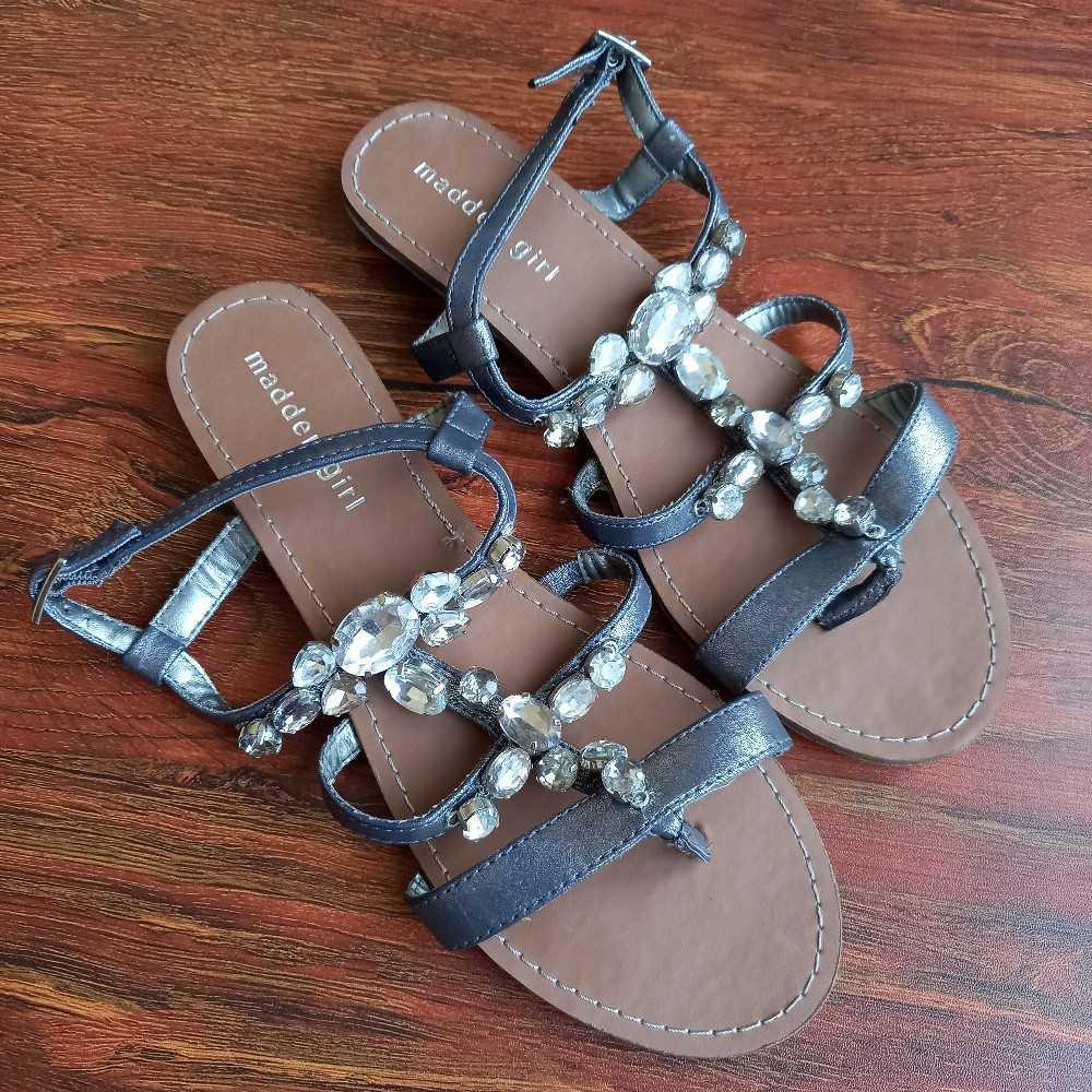 Crystal embellished flat sandals in gunmetal/ silver-grey