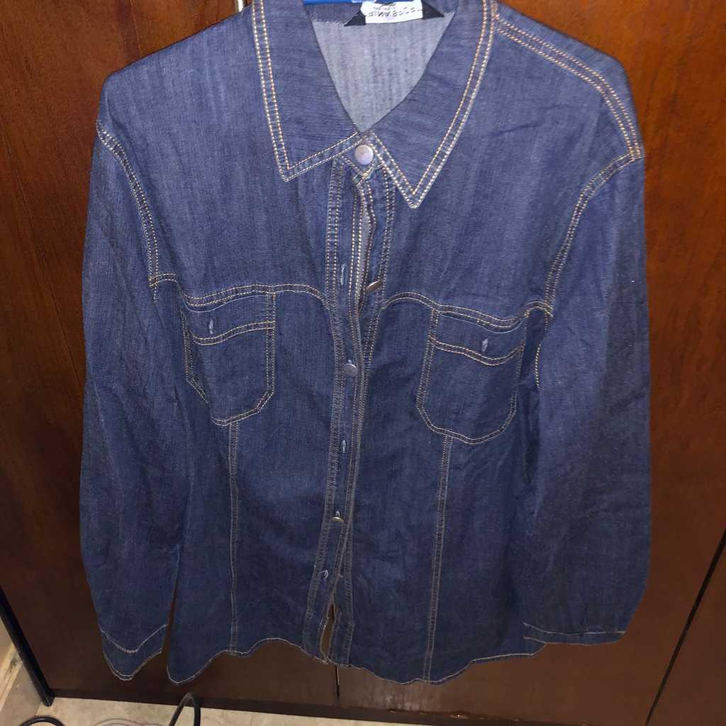 Large size denim shirt