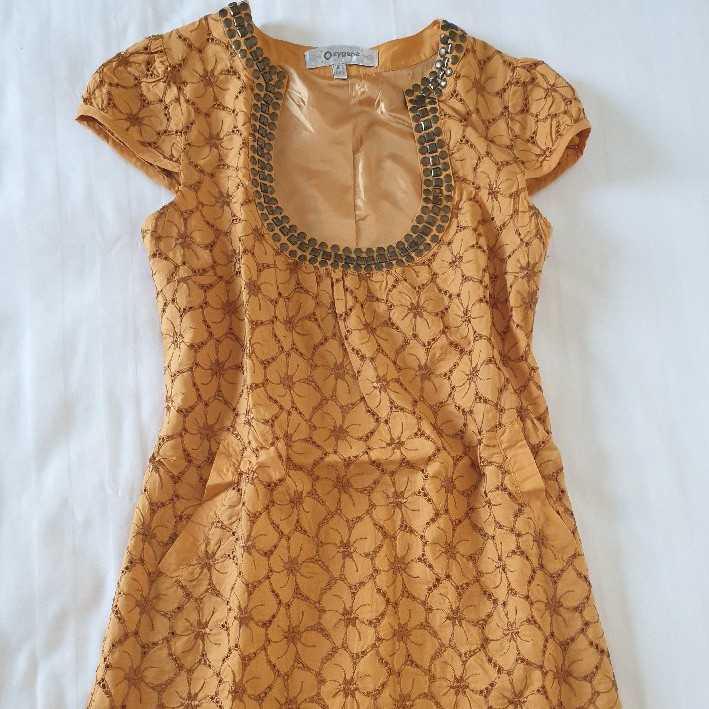 Casual Eyeley Dress in Mustard