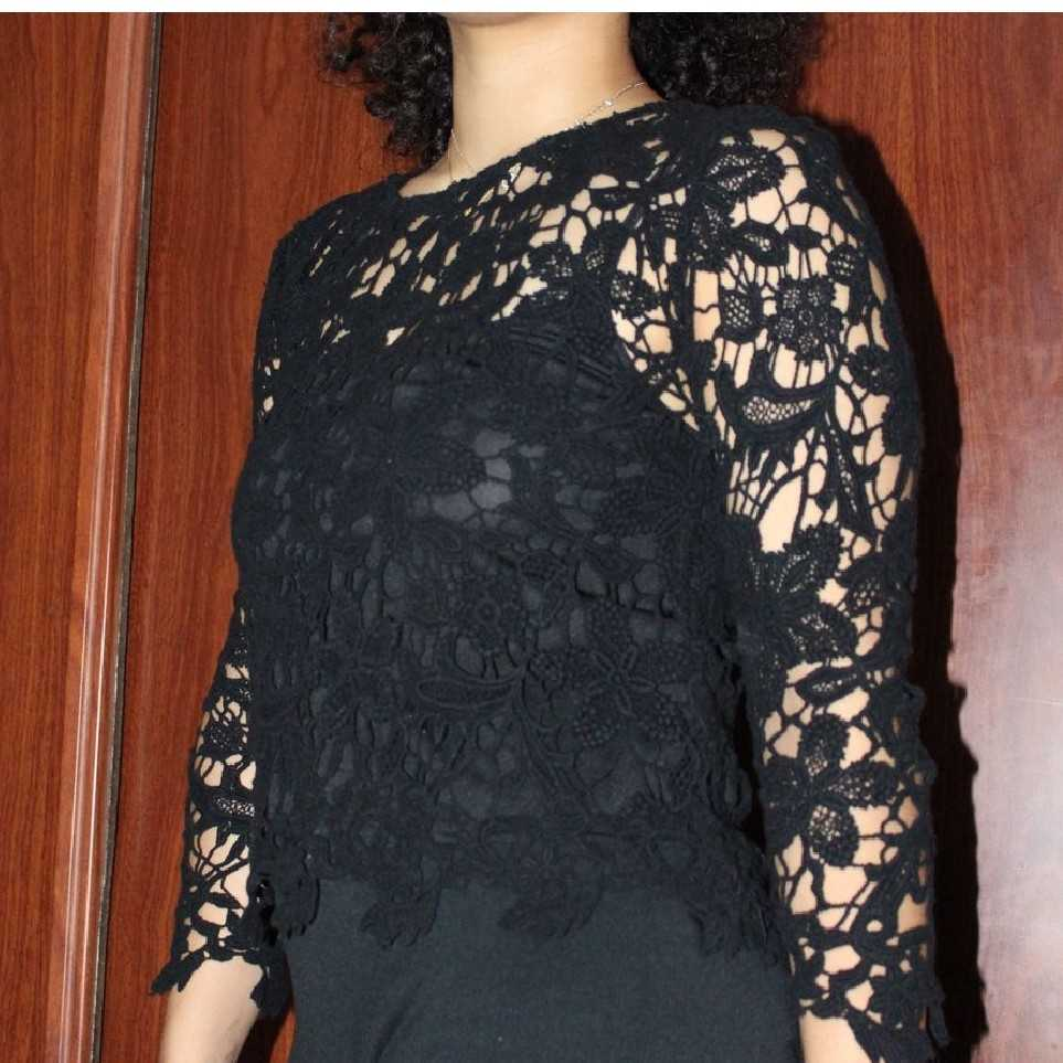 Black knitted top with vest inside