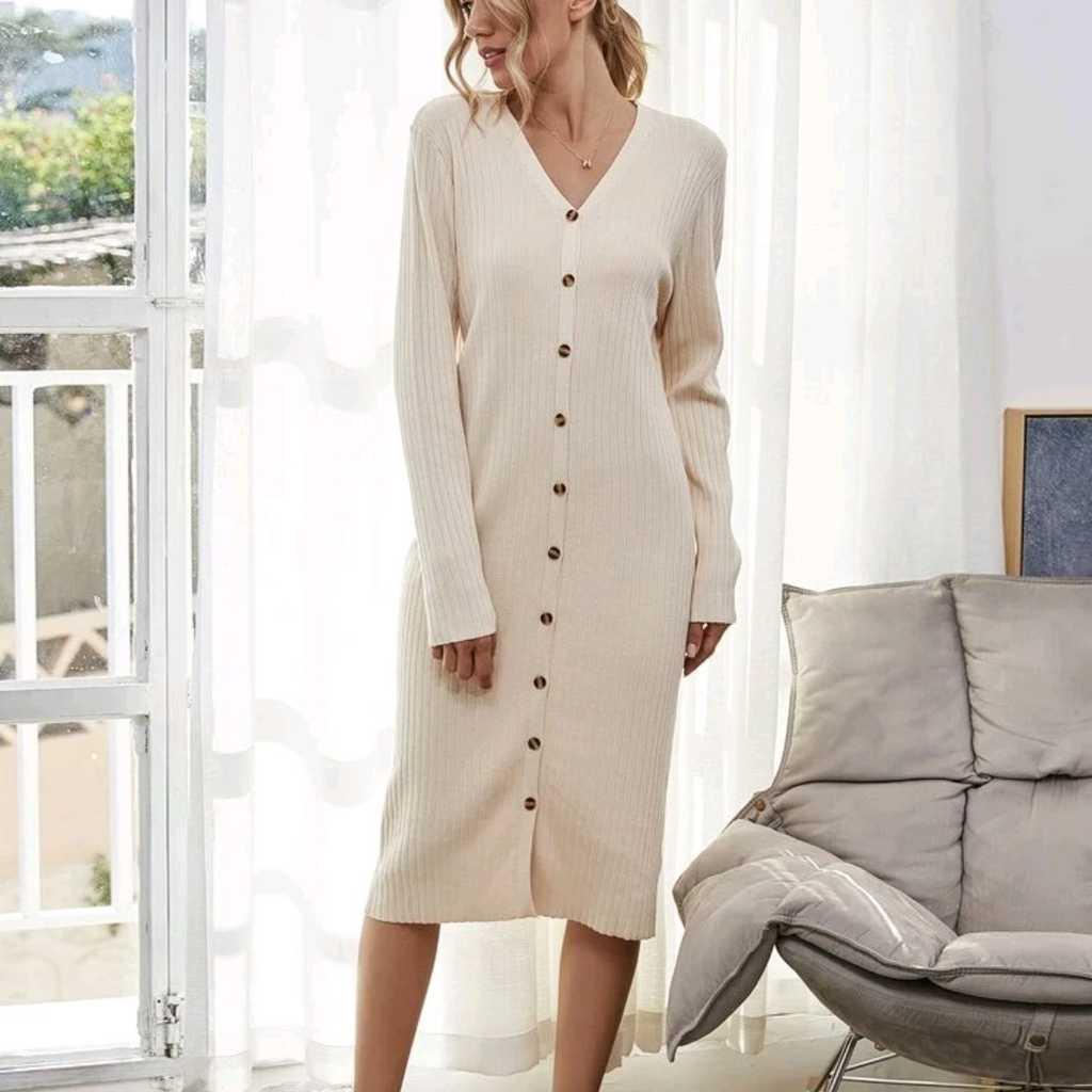 Button Sweater Dress