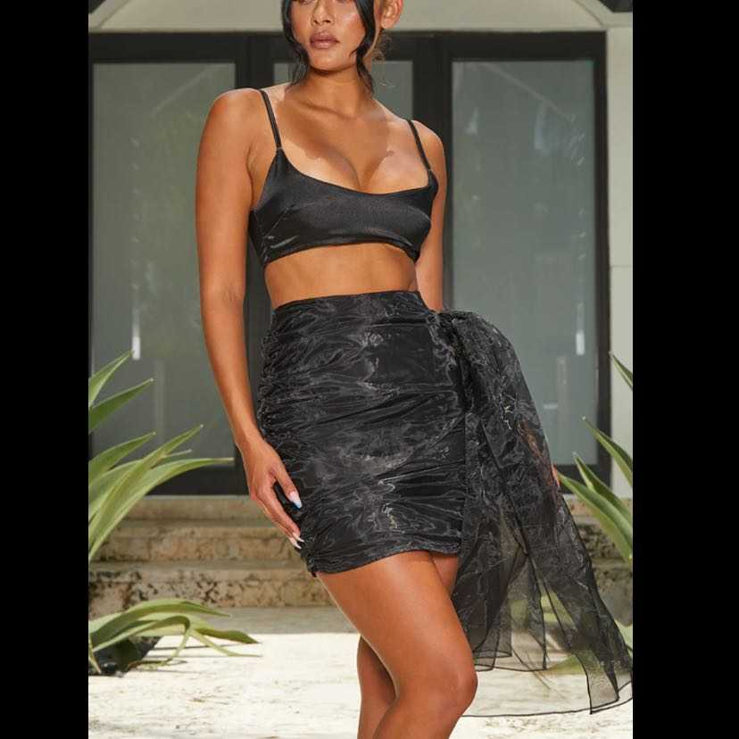 organza bow detail black mini skirt