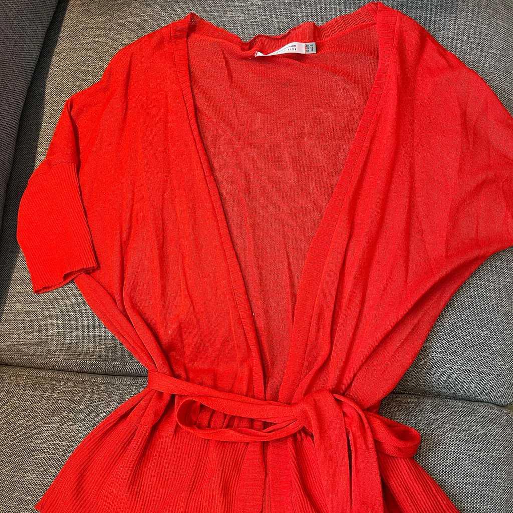 Orange red wrap knit top