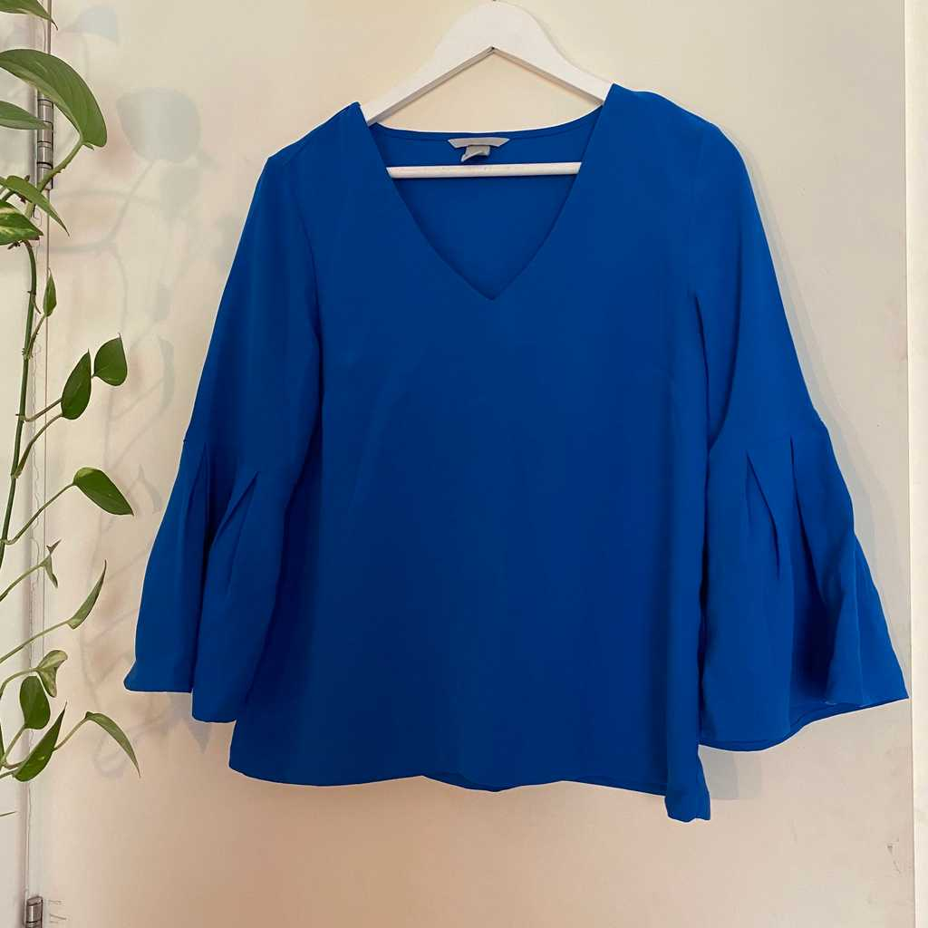Bright Blue, Bell-Sleeved blouse