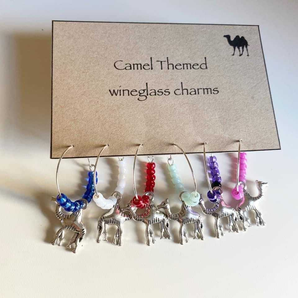 Camel Themed Wine Glass Charms set of 6