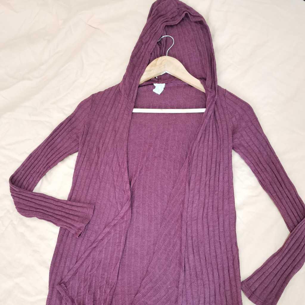 Cotton hoodied cardigan