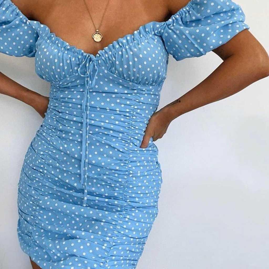 Zara polka puff sleeves mini dress uk 8-10