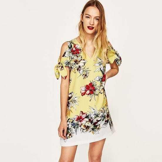 Zara Yellow Floral Cold Shoulder Dress