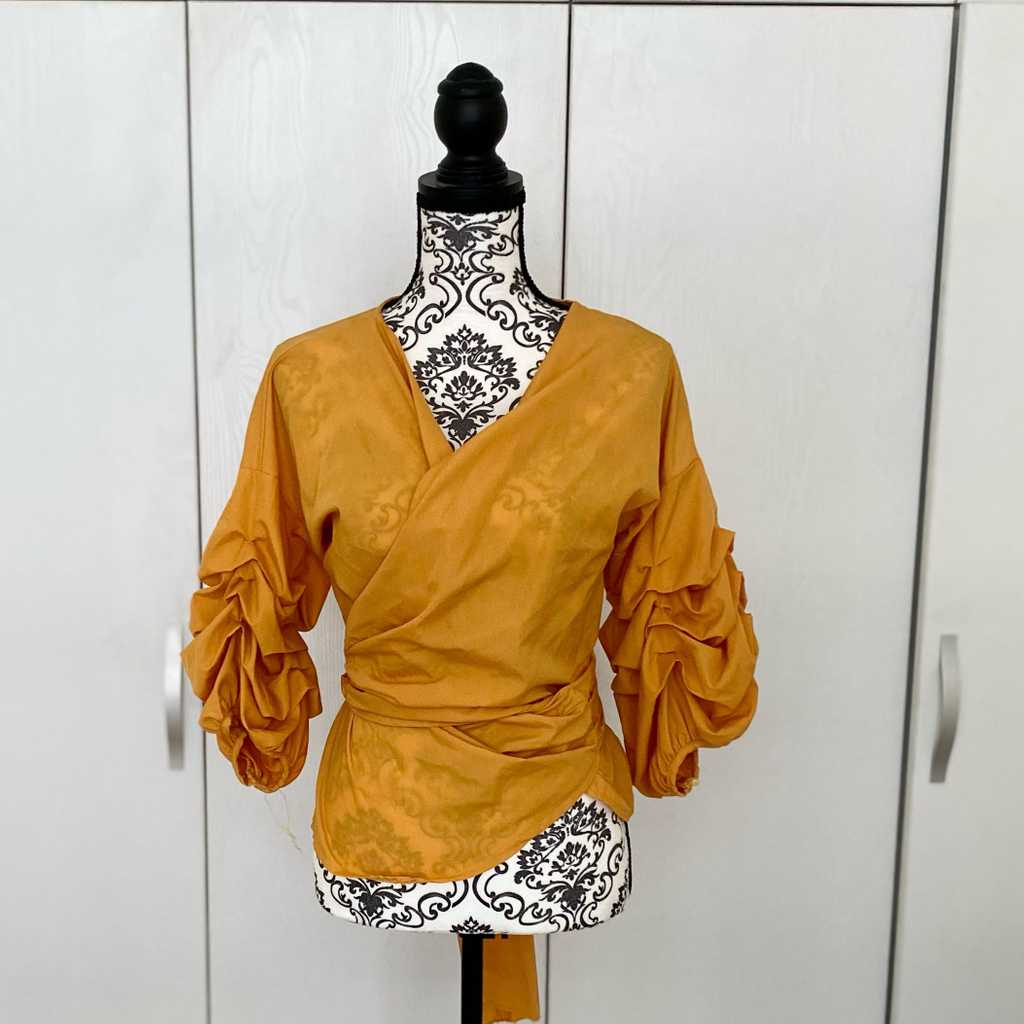 Yellow wrap up blouse