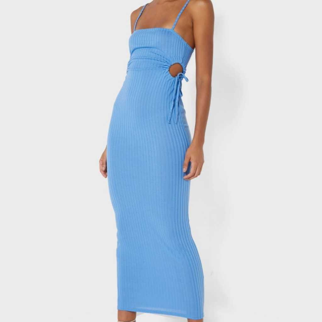 Cut out Ruched Detail Midi dress