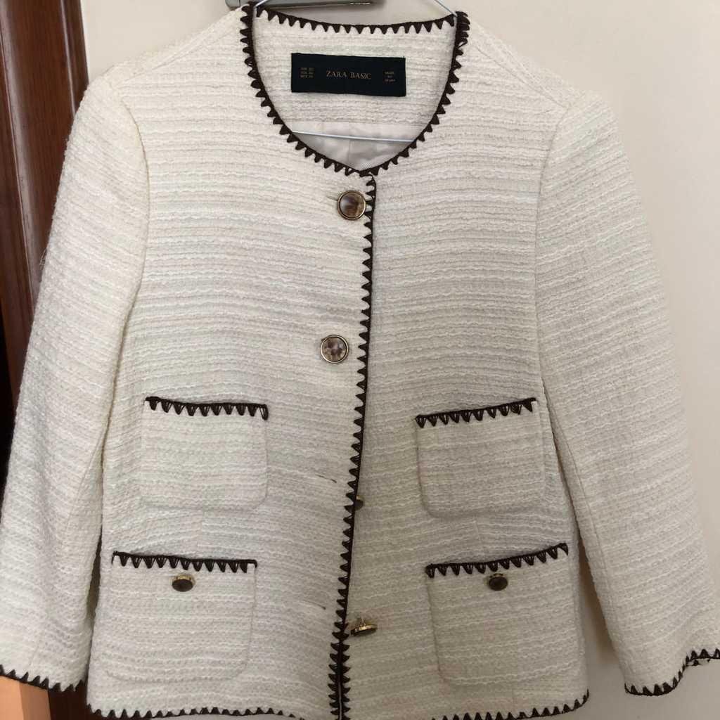 Zara tweed summer blazer ecru