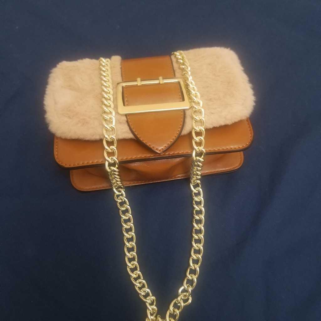 Brown Fur fashion hand bag