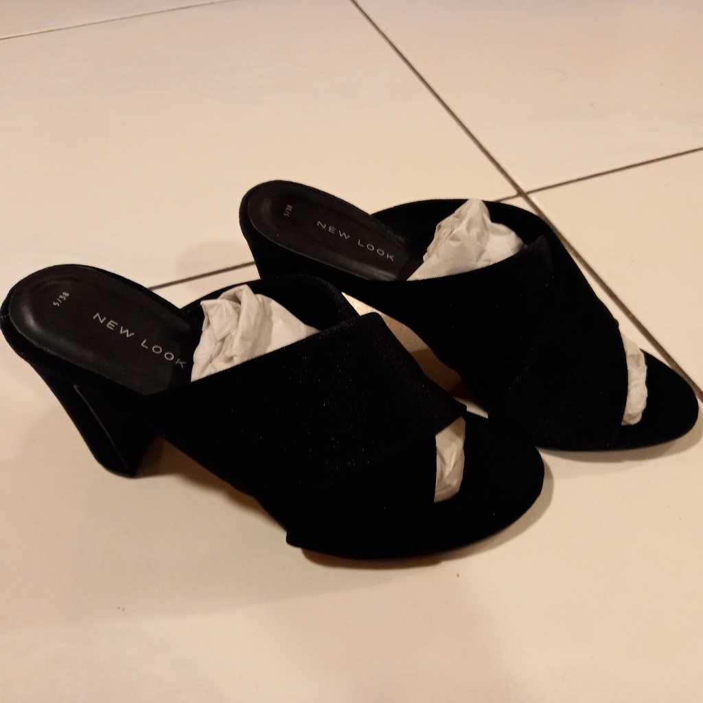 Black velvet high heel mules
