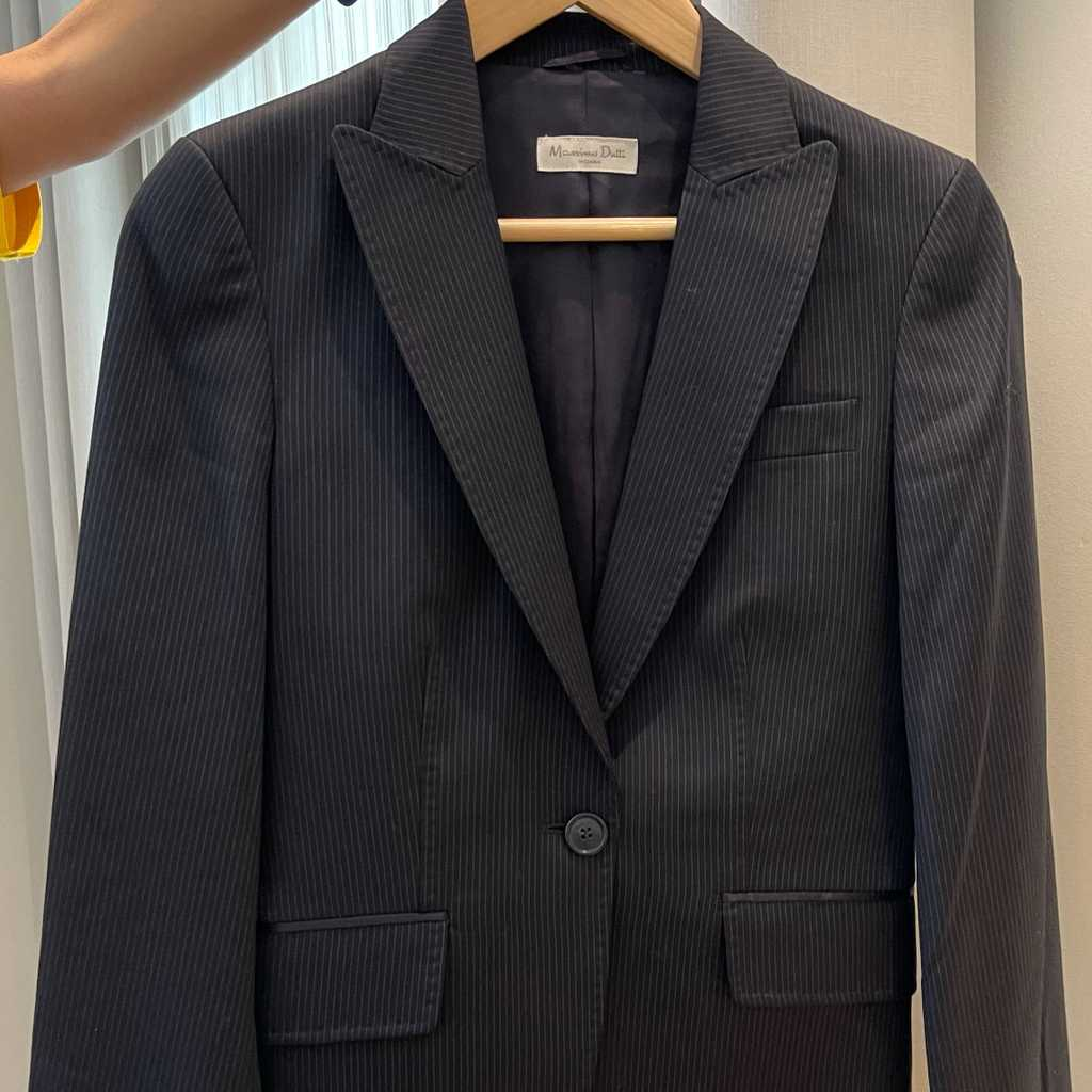 Navy Suit with thin blue stripes