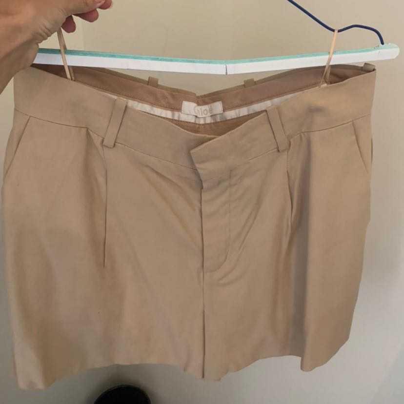 Chloe light wool beige shorts