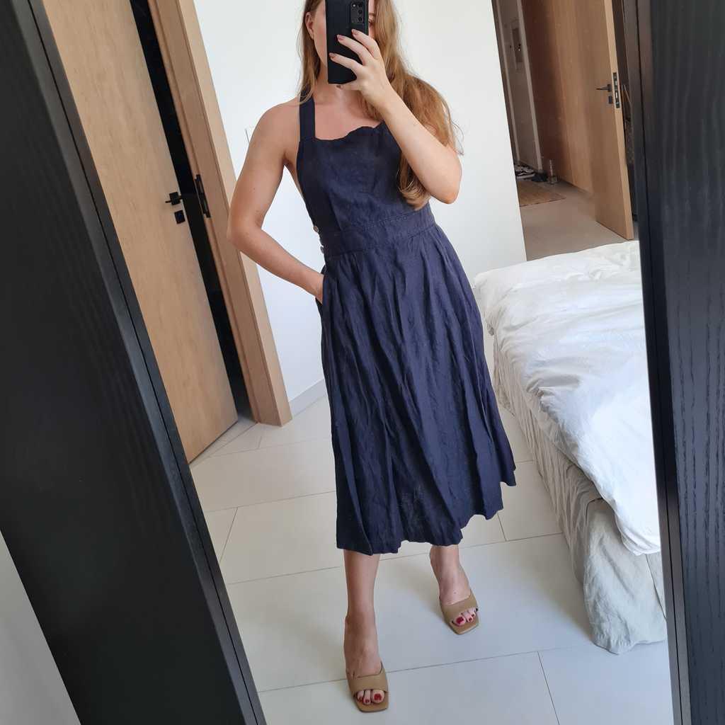 Open back linen dress
