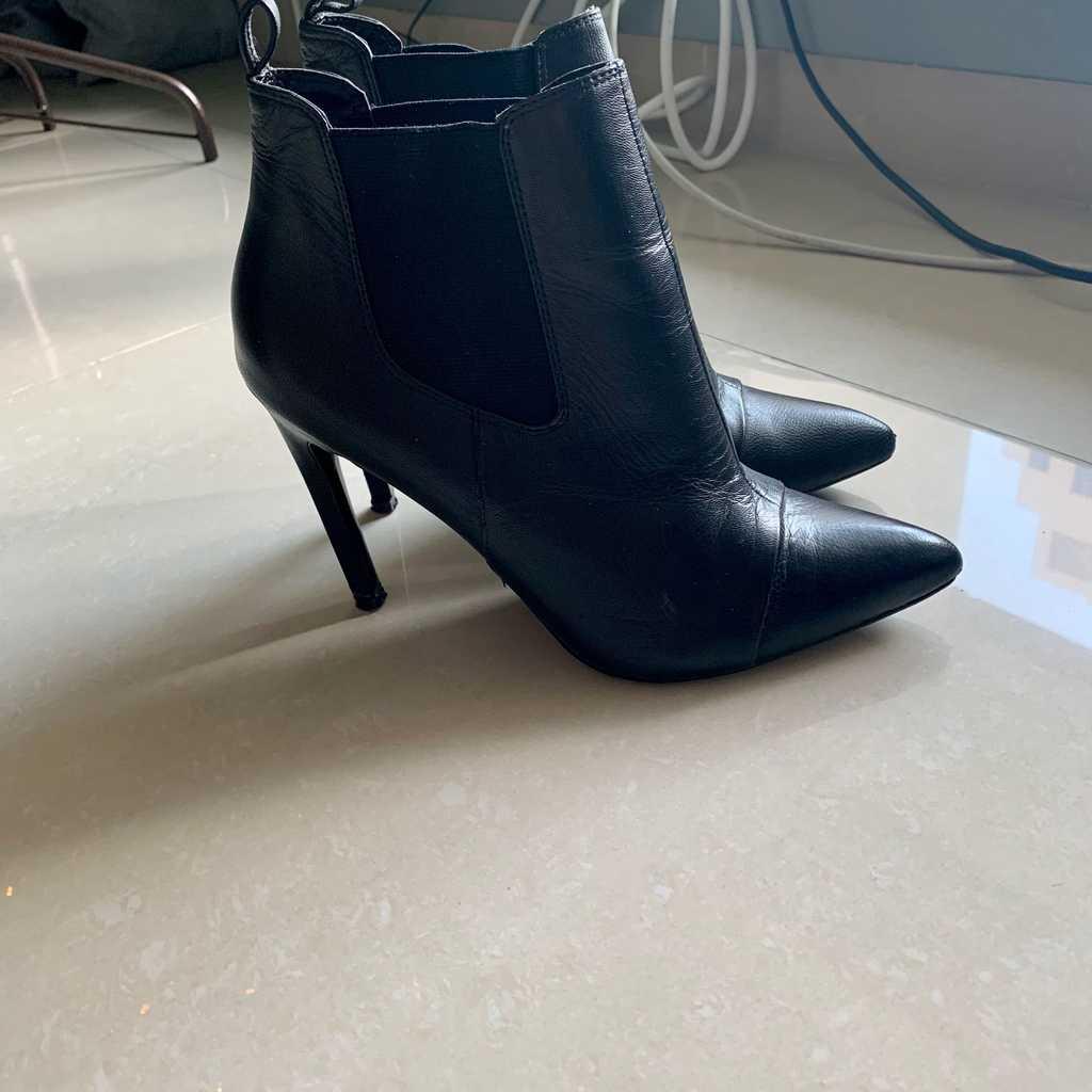 Mango black leather boots size 39