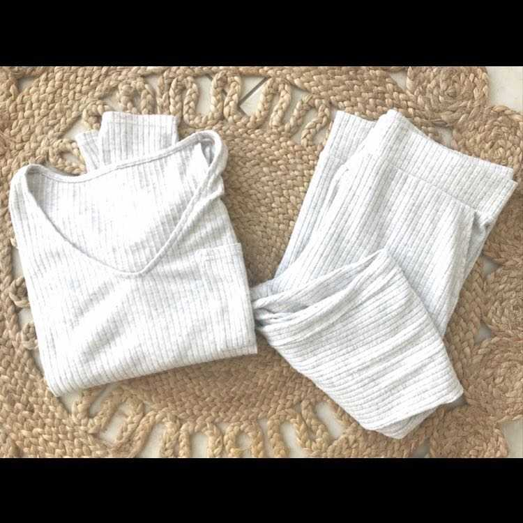 Soft grey rib loungewear set size M