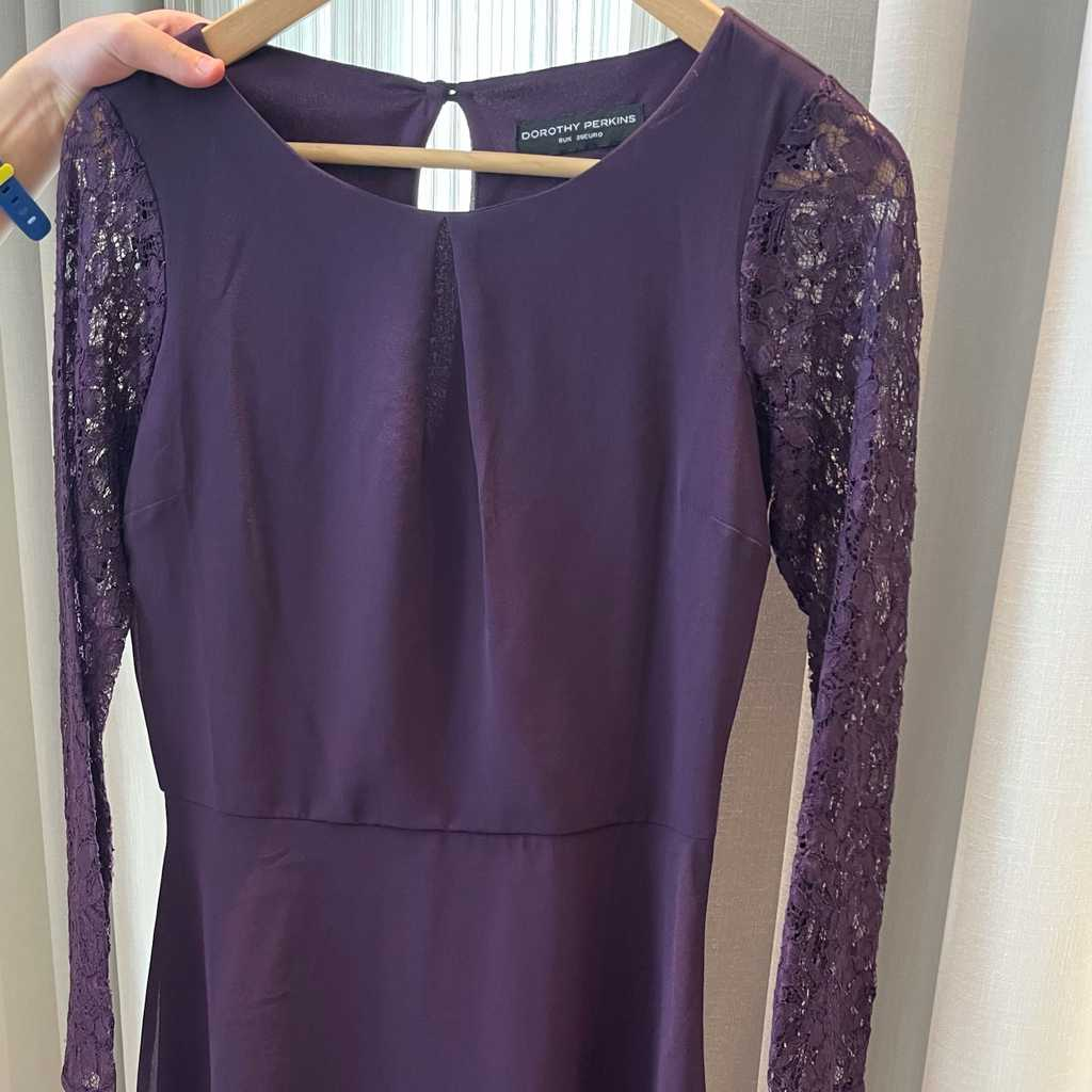 Aubergine dress with lace sleeves