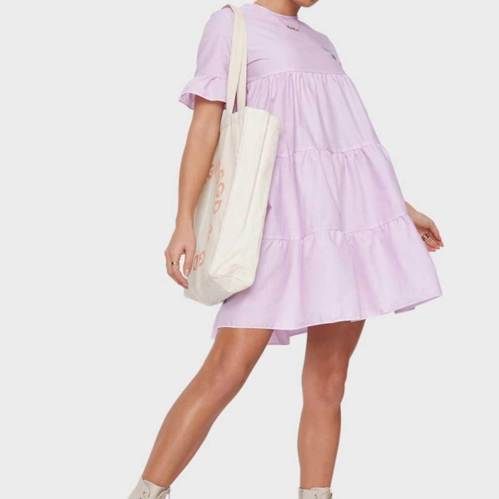 Frill sleeves Tiered mini Dress