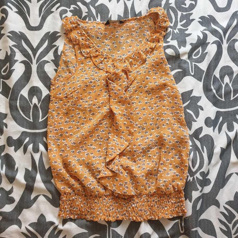Floral print yellow sleeveless top