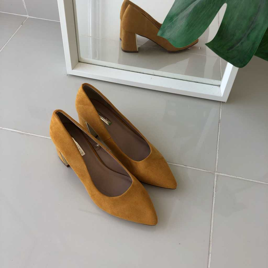 Yellow mid heels