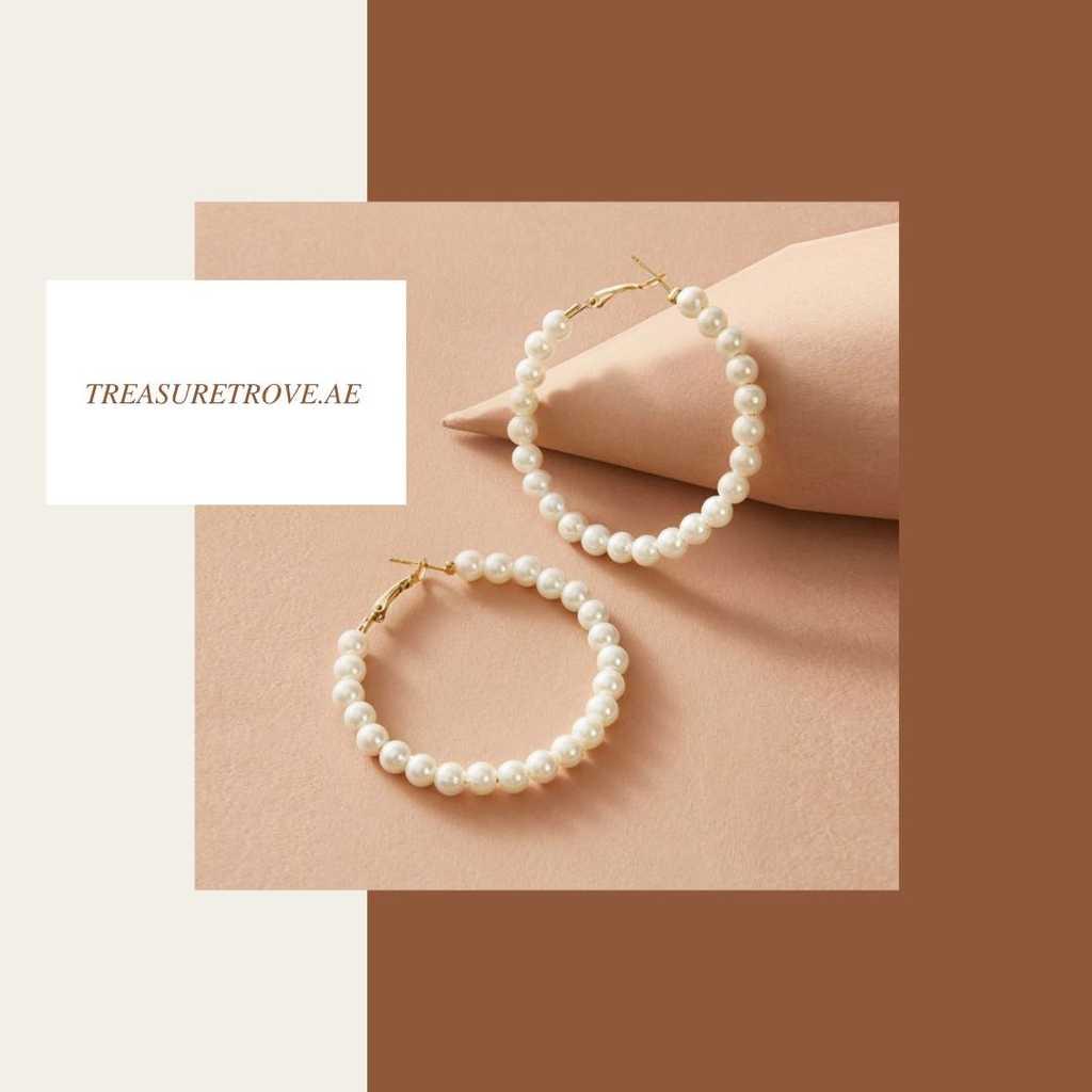 Pearl white hoop earrings