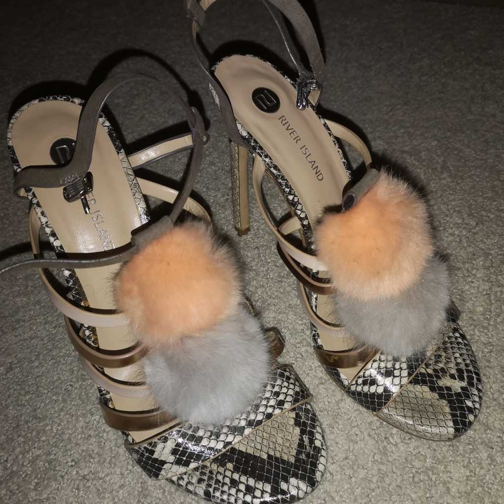 River Island size 7 UK 40 pompom heels