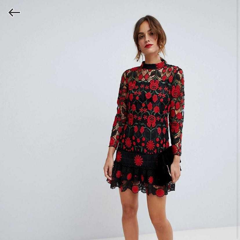Lace mini dress with pep hem- original tags