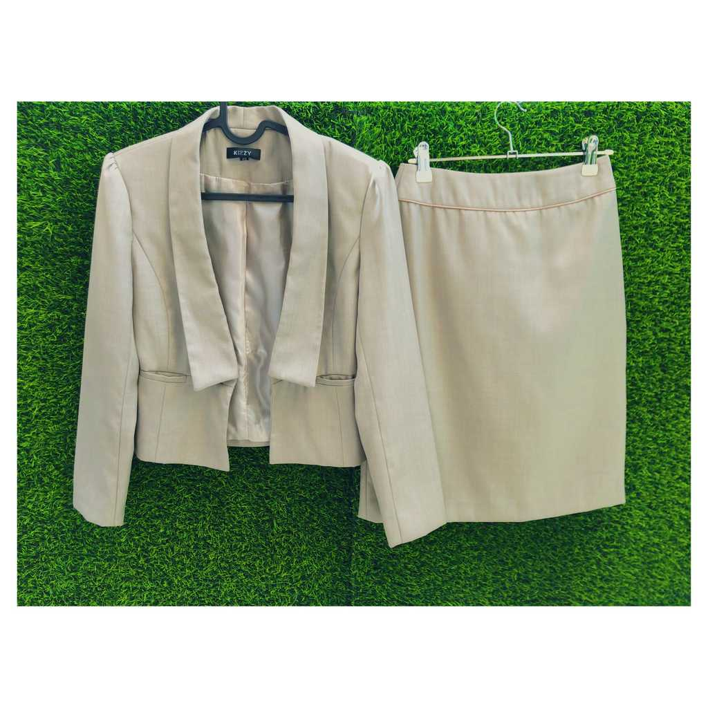 Neutral Beige Blazer & matching skirt