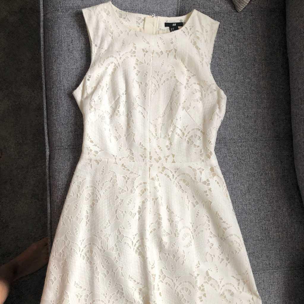 H&M off white lace mini dress