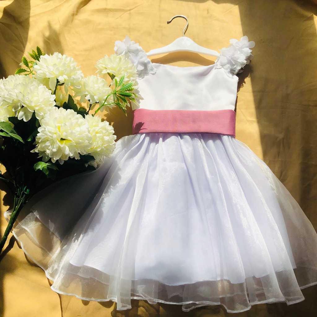 Kids White Flower Girl Silk Dress (1-2yrs)