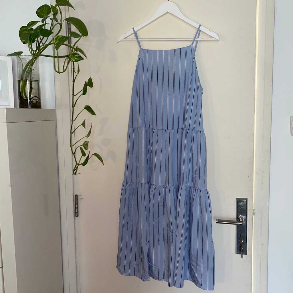 Blue stripped tiered dress