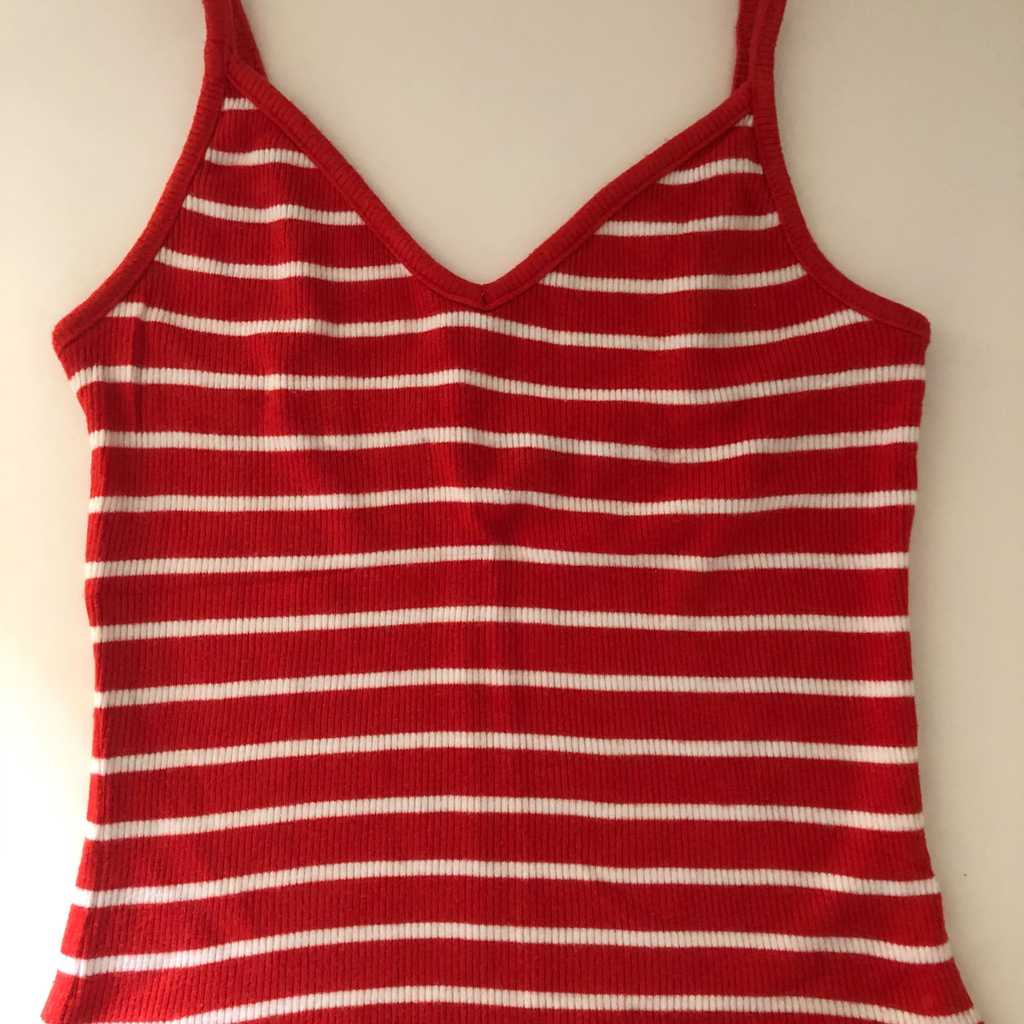 Red & White Stripped Tank Crop Top