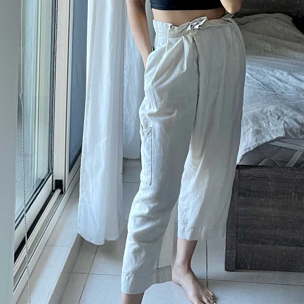 Zara linen wide leg pants