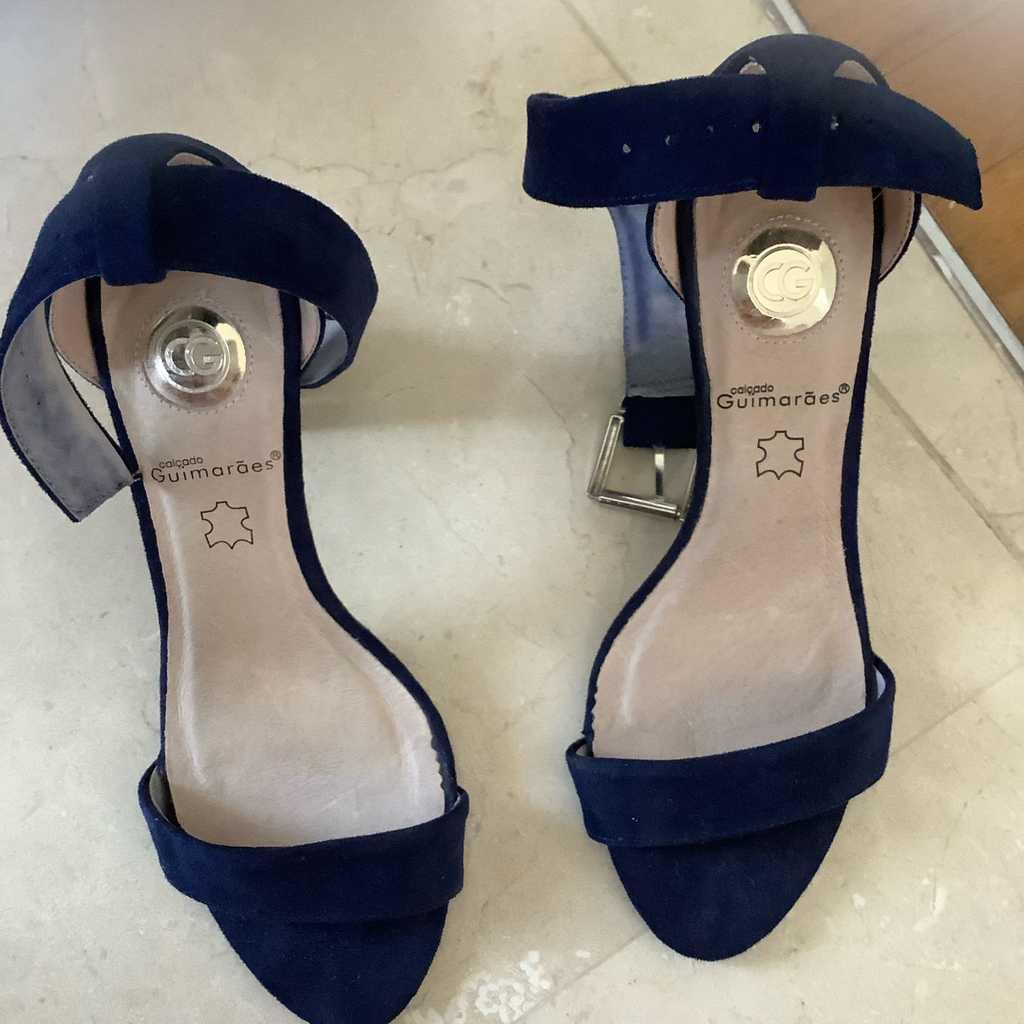 Navy suede heels
