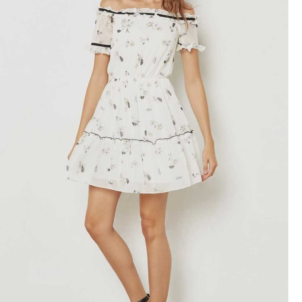 Miss Selfridge Floral Print Bardot Dress