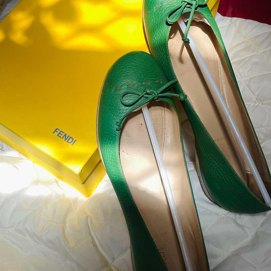 Fendi Green Ballet Flats